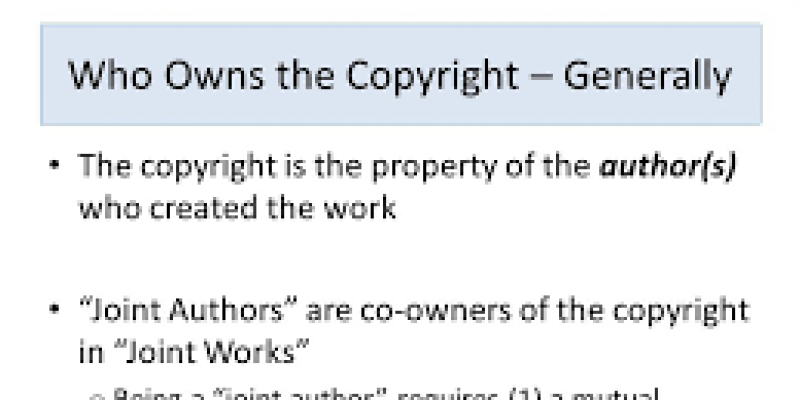 Joint Authorship in Copyright Law